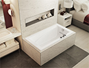 Recessed rectangular bathtub