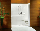 Alcove Shower in brown background set up