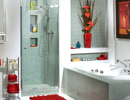 Alcove Blue Tiled Shower Opens 1 Door Panel