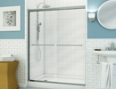 Alcove White Tiled Shower Opens 2 Sliding Door Panels