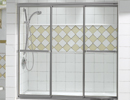 Alcove White Tiled Shower Opens 3 Sliding Door Panels